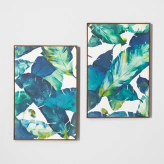 "Opalhouse Tropical Palm 2pk Framed Wall Canvas Blue 23.2""x 35.2"" - Opalhouse"