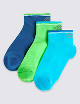Marks and Spencer 3 Pairs of FreshfeetTM Ankle Socks (3-16 Years)