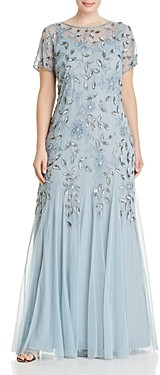 Adrianna Papell Plus Floral Embellished Godet Gown