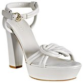white knotted leather 'Orchid' platform sandals