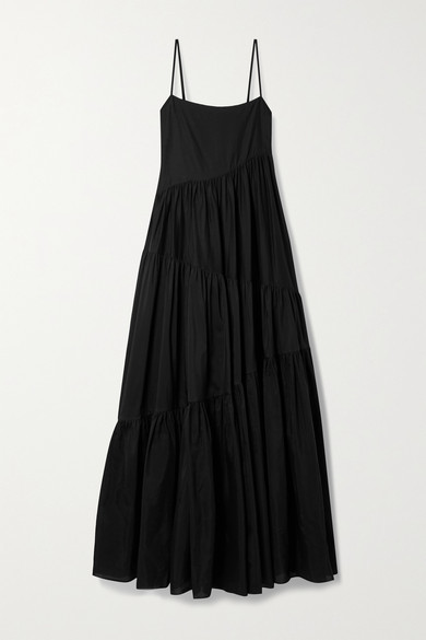 Matteau + Net Sustain Open-back Tiered Cotton And Silk-blend Voile Maxi Dress - Black