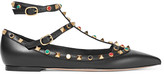 Valentino Rockstud embellished leather point-toe flats