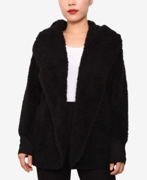 Planet Gold Juniors' Faux-Sherpa Hooded Cardigan