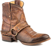 Roper Brown Accent-Strap Leather Cowboy Ankle Boot