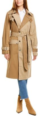 AVEC LES FILLES Two-Tone Trench Coat