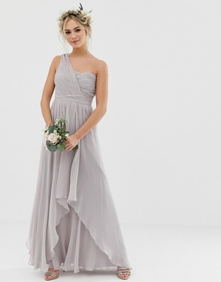Asos Design DESIGN Bridesmaid soft layer maxi dress with one shoulder pleated bodice-Grey