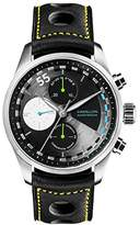 Raidillon Design Men's Automatic Watch with Black Dial Chronograph Display and Black Leather Strap 42-C10-161