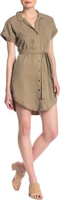 Sneak Peek Denim Cap Sleeve Tie Waist Shirt Dress