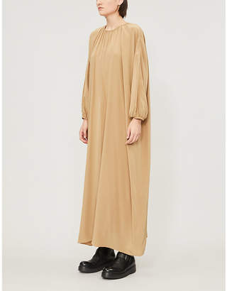The Row Theo gathered silk midi dress