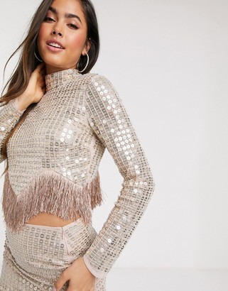ASOS DESIGN disc sequin top co-ord with fringe hem