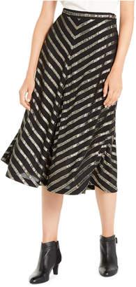 Alfani Pleated Metallic-Stripe Skirt