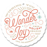 Minted Wonder and Joy Blue Holiday Ornament Cards