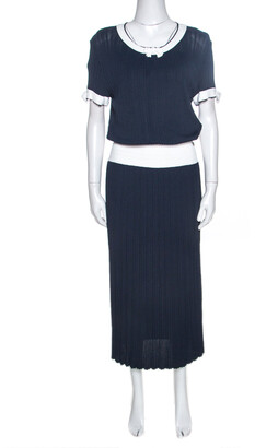 Chanel Navy Blue Rib Knit Contrast Trim Detail Midi Dress M