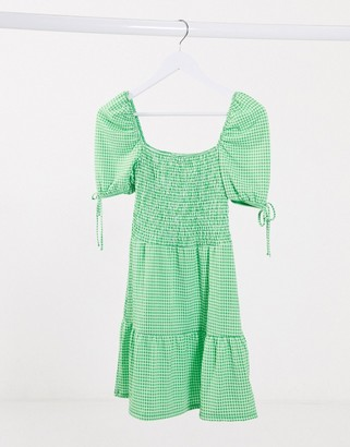 Topshop shirred mini tea dress in green gingham