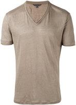 John Varvatos classic V-neck T-shirt - men - Linen/Flax - M