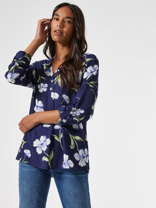 Dorothy Perkins Floral 2 Button Roll Sleeve Shirt - Navy
