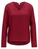 HUGO BOSS - Long Sleeved Top In Stretch Silk With V Neckline - Red