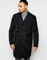 Asos Overcoat With Double Breast Styling In Black