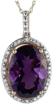 Non Branded 14K 0.11 Ct. Tw. Diamond & Amethyst Necklace