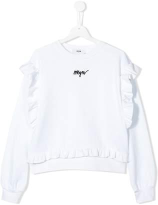 MSGM Kids logo ruffle trim sweatshirt