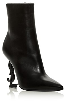 Saint Laurent Women's Opyum Logo Pointed Toe High Heel Booties