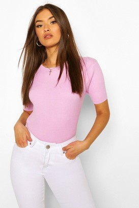 boohoo Rib Knit Crew Neck Short Sleeve Top
