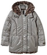 Catimini Heart Print Hooded Coat with Faux Fur Lining