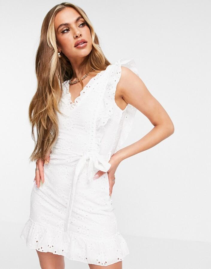 Parisian broderie anglais frill shoulder tie waist mini dress in white