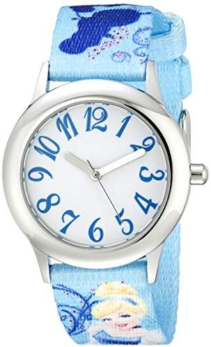 W000416 Stainless Tween Kids' Steel Cinderella Printed Strap Watch OkZXiPuT