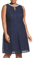 London Times Plus Size Women's Beaded Fit & Flare Lace Dress