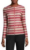 Lafayette 148 New York Kerrington Striped Zip-Front Jacket