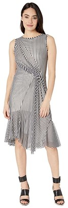 Fuzzi Stripe Sleeveless Dress (Black) Women's Dress