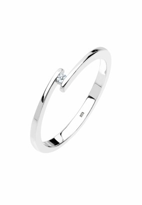 Diamore Women's 925 Sterling Silver 0.02 ct White Diamond Solitaire Ring