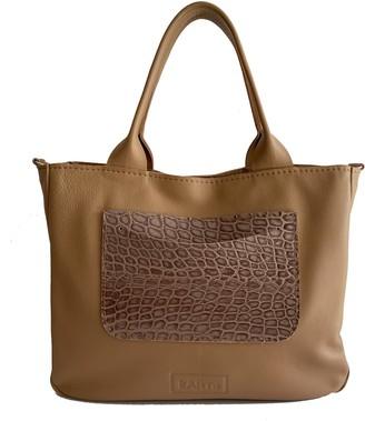 Kartu Studio Natural Leather Top Handles Handbag Vanilla - Nude/Cacao Reptile Print