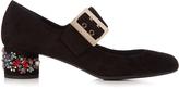 Lanvin Crystal-embellished block-heel suede pumps