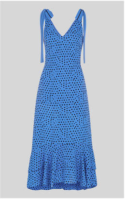 Whistles Lunar Spot Tie Shoulder Dress