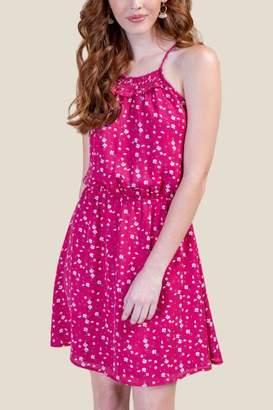 francesca's Robin Smocked Top Floral Dress - Fuchsia