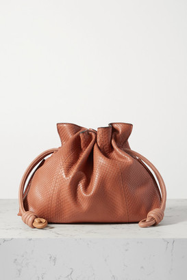 Loewe Flamenco Leather-trimmed Python Clutch - Brown