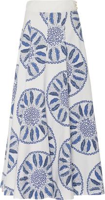 Three Graces London Amelina Printed Cotton-Poplin Maxi Skirt