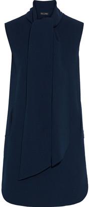 Oscar de la Renta Tie-neck Wool-blend Crepe Mini Dress