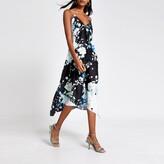 River Island Womens Black floral hanky hem midi slip dress