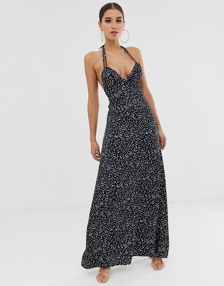 Club L London tie strap detail maxi dress in all over print-Navy