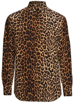 Saint Laurent Leopard-Print Silk Sport Shirt