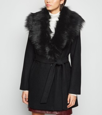 New Look Faux Fur Collar Belted Coat