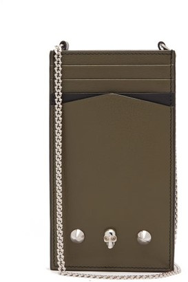 Alexander McQueen Skull And Studs Leather Phone Pouch - Khaki Multi