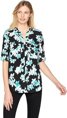 Calvin Klein Women's Printed Split Neck Roll Sleeve Blouse