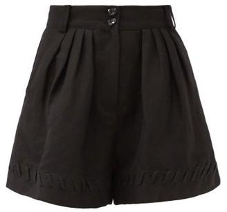 Aje Unlace High-rise Linen-blend Shorts - Black