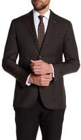 Michael Bastian Brown Plaid Two Button Notch Lapel Wool Extra-Trim Fit Blazer