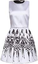 Alice + Olivia Pleated Printed Twill Mini Dress