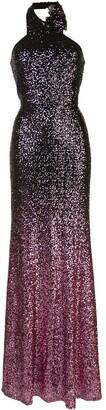 Marchesa Notte Sequin Halter Gown